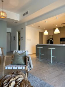 Eaton place living room and kitchen